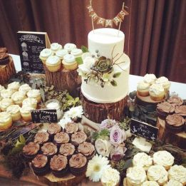 rustic woodland wedding cake and dessert table